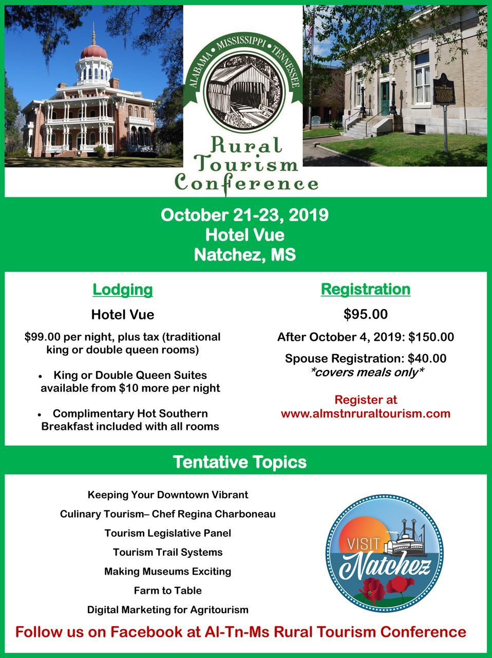 AL-MS-TN Rural Tourism Conference - 2019 Conference Flyer